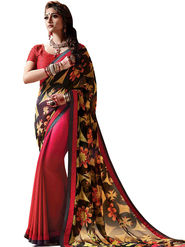 Zoom Fabrics Reversible Georgette & Jacquard Saree -zf05