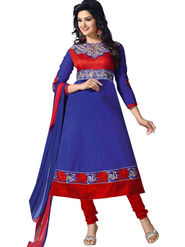 Florence Combric Cotton Embroidered Dress Material - Blue - SB-2071