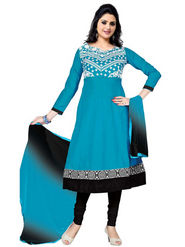 Florence Combric Cotton Embroidered Dress Material - Blue - SB-2079
