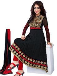 Florence Chiffon Embroidered Dress Material - Black - SB-2134