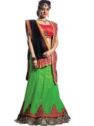 Florence Net & Shantoon Embroidered Lehenga - Green - AN_1019