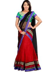 Florence Net with Braso Embroidered Lehenga - Red - AN_1029