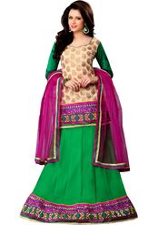 Florence Net Embroidered Lehenga - Green - AN_1039
