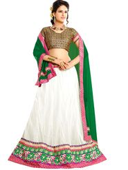 Florence Net with Braso Embroidered Lehenga - White