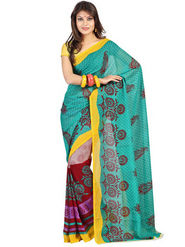 Florence Faux Georgette  Printed Saree - Blue - FL-10316