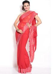 Silkbazar Georgette Embroidered Saree - Red - FL-1568-1001-SEP
