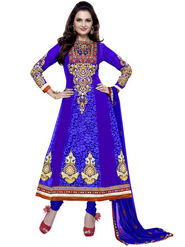 Florence Chiffon Embroidered Dress Material - Blue - SB-1707