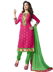 Florence Chiffon Embroidered Dress Material - Pink - SB-1720