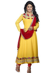 Florence Georgette  Embroidered Dress Material - Yellow - SB-1736