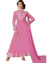 Florence Georgette  Embroidered Dress Material - Pink - SB-1798