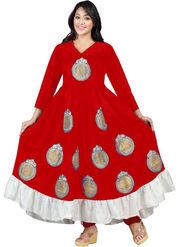 Florence Velvet Embroidered Dress Material - Red - SB-2618