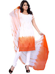Florence Georgette Embroidered Dress Material - White & Orange - SB-2706