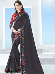 Indian Women Emboridered Georgette Black Designer Saree -Ga20504