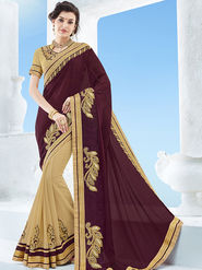 Indian Women Emboridered Chinon & Georgette Maroon & Beige Designer Saree -Ga20514