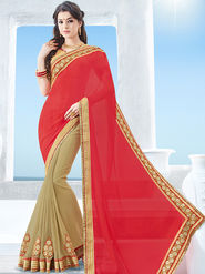 Indian Women Emboridered Chiffon & Georgette Red & Beige Designer Saree -Ga20529