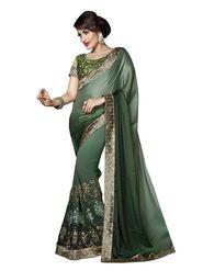 Khushali Fashion Embroidered Georgette & Crepe Jacquard Saree(Olive Green)_GNGLW1008