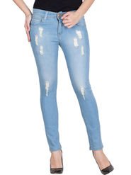 Hip Cover Light Blue Slim Fit Stretchable Ankle Length Jeans   -ma94