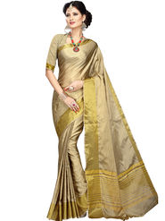 Shonaya Plain Cotton Art Silk Beige & Gold Saree -Hikbr-1016