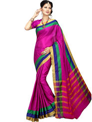Shonaya Plain Cotton Art Silk Pink Saree -Hikbr-1017