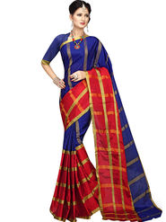 Shonaya Plain Cotton Art Silk Blue & Red Saree -Hikbr-1018
