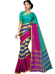 Shonaya Plain Cotton Art Silk Green  & Pink Saree -Hikbr-1039