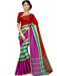 Shonaya Plain Cotton Art Silk Red  & Pink Saree -Hikbr-1040