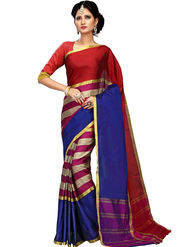Shonaya Plain Cotton Art Silk Red & Blue Saree -Hikbr-1041
