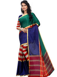 Shonaya Plain Cotton Art Silk Green & Blue Saree -Hikbr-1042