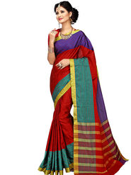 Shonaya Plain Cotton Art Silk Red Saree -Hikbr-1044