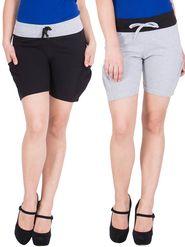 Pack of 2 American-Elm Cotton Plain Shorts  - HS-15-Grey_21-Black_M