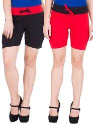 Pack of 2 American-Elm Cotton Plain Shorts  - HS-16-Black_22-Red_M