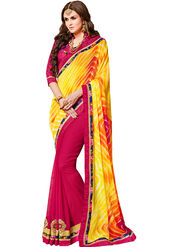 Indian Women Designer Printed Marble & Georgette Saree -Ic11225
