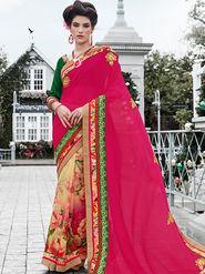 Indian Women Embroidered Georgette & Georgette Multicolor Designer Saree -IC11349