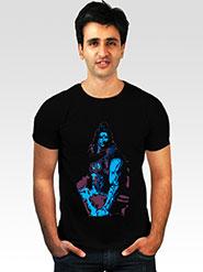 INCYNK Printed Round Neck Half Sleeves T Shirt for Men - Black_MHT126_BLACK_1