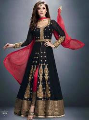 Regalia Ethnic Embroidered Georgette Semi stitched Black Suit -Ire09