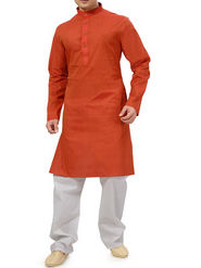 Ishin Cotton Plain Kurta Pajama For Men_indsh-102 - Orange