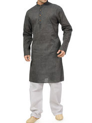 Ishin Cotton Plain Kurta Pajama For Men_indsh-103 - Grey