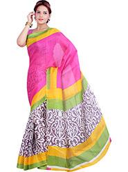Ishin Printed Bhagalpuri Silk Saree - Multicolor-ISHIN-1115