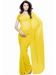 Khushali Fashion Georgette Plain Saree(Yellow)_JAZZ512
