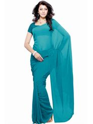 Khushali Fashion Georgette Plain Saree(Turquoise)_JAZZ534