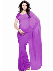 Khushali Fashion Georgette Plain Saree(Purple)_JAZZ551