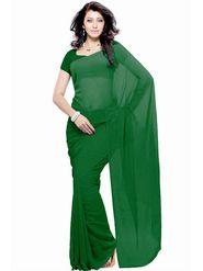 Khushali Fashion Georgette Plain Saree(Green)_JAZZ555