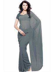 Khushali Fashion Georgette Plain Saree(Light Grey)_JAZZ594