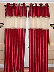 Set of 2 JBG Beautiful Tissue lace Design Door Curtains - Red & White- JBG375