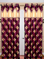 Set of 2 JBG Fancy Lace Check design Door Curtains - Purple & Cream- JBG434