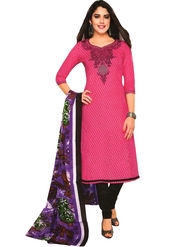 Javuli 100% pure Cotton Printed  Dress material - Pink - shree-new201