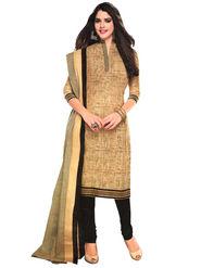 Javuli 100% pure Cotton Printed  Dress material - Beige - shree-new222