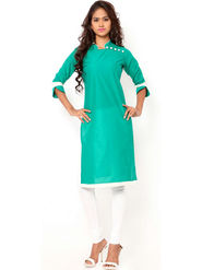 Regalia Ethnic  Plain  Cotton Sea Green Kurti -Kre102