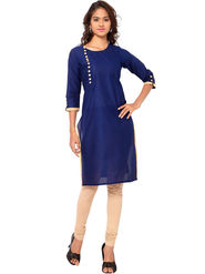 Regalia Ethnic  Plain  Cotton Navy Blue Kurti -Kre106