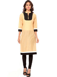 Regalia Ethnic  Plain  Cotton Beige Kurti -Kre110